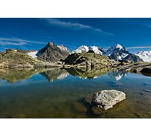 Mountain lake at Fourcla Surlej Photographic Print