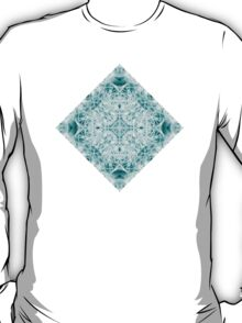 """Spirit of India: Magic Diamond"" in white and blue-turquoise T-Shirt"
