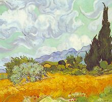'Cornfield With Cypresses' by Vincent Van Gogh (Reproduction) by Roz Abellera Art Gallery