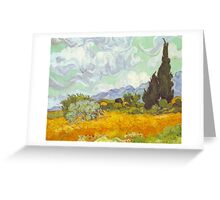 'Cornfield With Cypresses' by Vincent Van Gogh (Reproduction) Greeting Card
