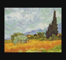'Cornfield With Cypresses' by Vincent Van Gogh (Reproduction) T-Shirt