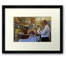 Visit to the Barber Shop Framed Print
