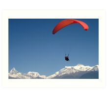 Paragliding in Pokhara Art Print