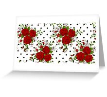 Pattern with abstract red flowers. Rose vintage background Greeting Card