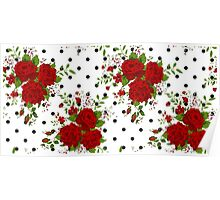 Pattern with abstract red flowers. Rose vintage background Poster