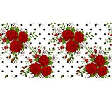 Pattern with abstract red flowers. Rose vintage background Photographic Print