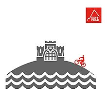 East Peak Apparel - Coast and Castle - Mountain Bike T-Shirt Photographic Print
