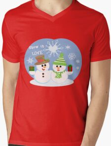 Christmas Snowman & Woman Couple T-Shirt