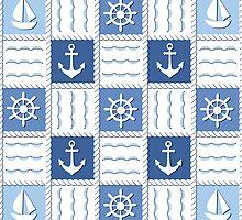 Marine theme. Blue sea seamless pattern by LourdelKaLou