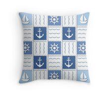 Marine theme. Blue sea seamless pattern Throw Pillow