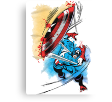 Captain America in action Canvas Print