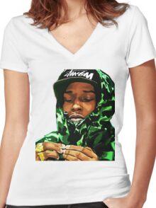 ASAP ROCKY CAMO Women's Fitted V-Neck T-Shirt