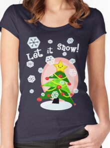 Kawaii Christmas Tree in the Snow Women's Fitted Scoop T-Shirt