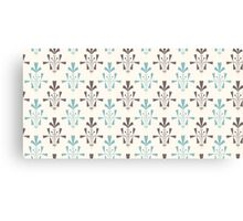 Beige and blue luxury ornamental pattern Canvas Print