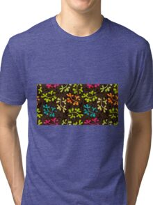 Cute floral pattern with leaves Tri-blend T-Shirt