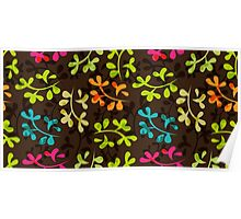 Cute floral pattern with leaves Poster
