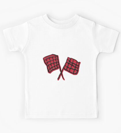 Black and red race flag Kids Tee