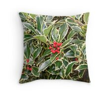 """Happy Holly Day"""" Throw Pillow"