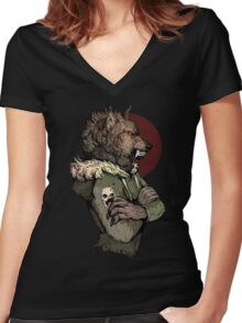 Wolf Rising Brown Women's Fitted V-Neck T-Shirt