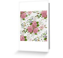 Floral pattern with pink roses. Vintage style Greeting Card