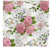Floral pattern with pink roses. Vintage style Poster