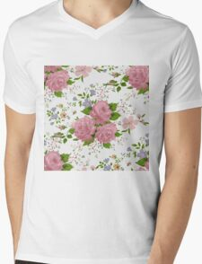 Floral pattern with pink roses. Vintage style Mens V-Neck T-Shirt