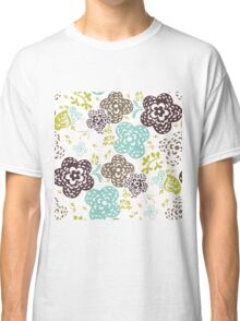 Seamless floral pattern with cute flowers on a white background Classic T-Shirt