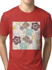 Seamless floral pattern with cute flowers on a white background Tri-blend T-Shirt