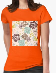 Seamless floral pattern with cute flowers on a white background Womens Fitted T-Shirt