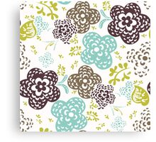 Seamless floral pattern with cute flowers on a white background Canvas Print