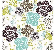 Seamless floral pattern with cute flowers on a white background Photographic Print