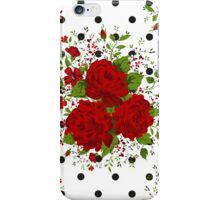 Seamless pattern with red roses on design background iPhone Case/Skin
