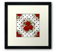 Seamless pattern with red roses on design background Framed Print