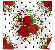Seamless pattern with red roses on design background Poster