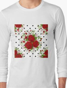 Seamless pattern with red roses on design background Long Sleeve T-Shirt