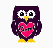 Purple Owl with Pink Heart - SWEET Womens Fitted T-Shirt