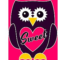 Purple Owl with Pink Heart - SWEET Photographic Print