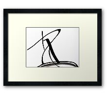 Calligraphy Art, Black & White Abstract Art, Japanese-Inspired  Ink Pianitng Framed Print
