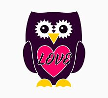 Purple Owl with Pink Heart - LOVE Womens Fitted T-Shirt