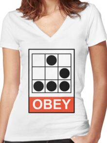 Obey Hacker Women's Fitted V-Neck T-Shirt