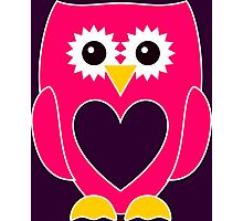Pink Owl with Purple Heart Photographic Print