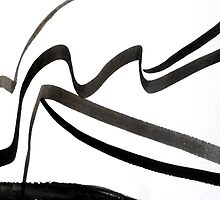 Black & White Calligraphy, Japanese-Inspired Abstract Ink Painting by ShiningEyeArts