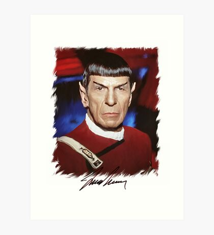 Leonard Nimoy - Mr Spock Digital Painting Signed Photo - Star Trek  autograph Art Print