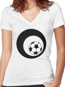 futbol : retro circles Women's Fitted V-Neck T-Shirt