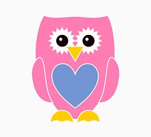 Pink Owl with Blue Heart Womens Fitted T-Shirt