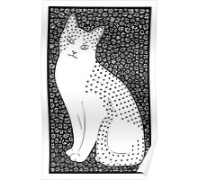 Cat w Flowers Poster