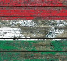 Flag of Hungary on Rough Wood Boards Effect by Jeff Bartels