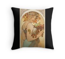 'Fruit' by Alphonse Mucha (Reproduction) Throw Pillow