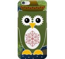 Green Christmas Owl with Snowflake on Belly iPhone Case/Skin