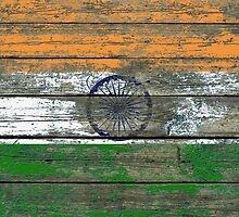 Flag of India on Rough Wood Boards Effect by Jeff Bartels